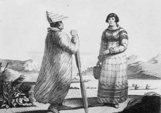 Illustration of men's and women's dress, Aleutian Islands, ca. 1820. (Public Domain)