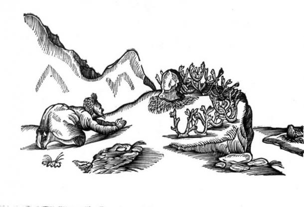Illustration of stone worship or spiritual offering. In Lapponia by J.Schefferius (1673) (Public Domain)