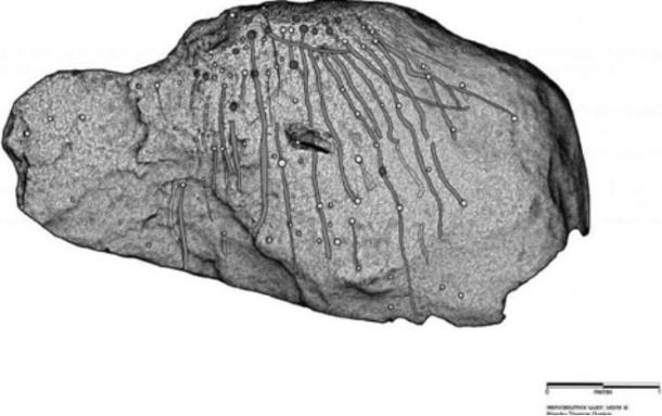 Illustration of the marks found on the rock Credit: Thomas Goskar
