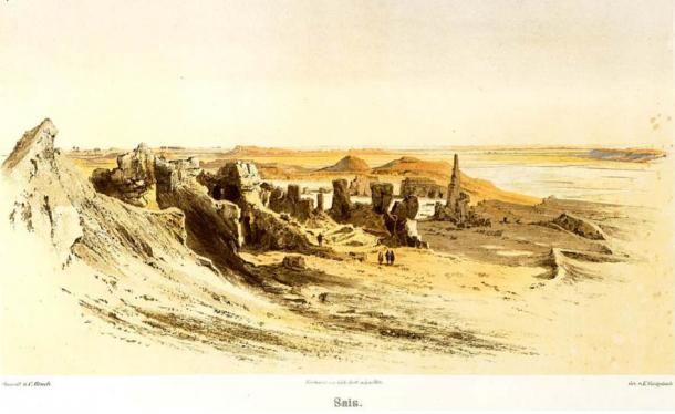 Detail, Illustration of the ruins of Sais, 1878