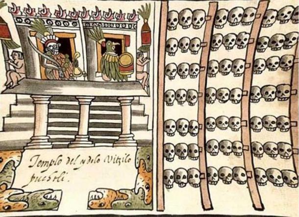 Illustration showing an Aztec skull rack. Códice Ramírez.