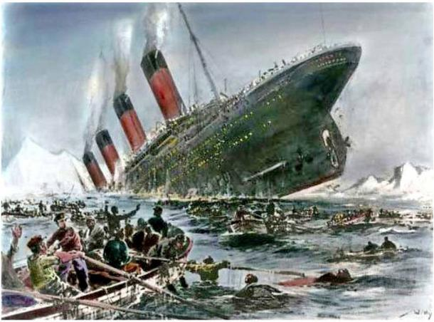 Illustration of the doomed ship, Titanic. 1912.