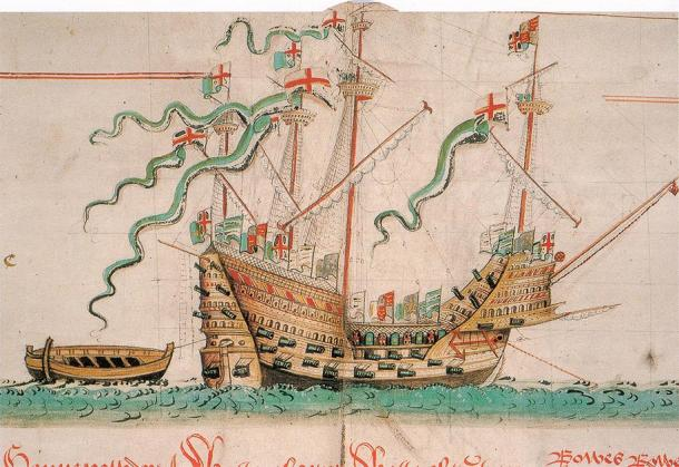 Illustration of the Mary Rose ship to show what it could have looked like. (Anthony Roll / Public domain)