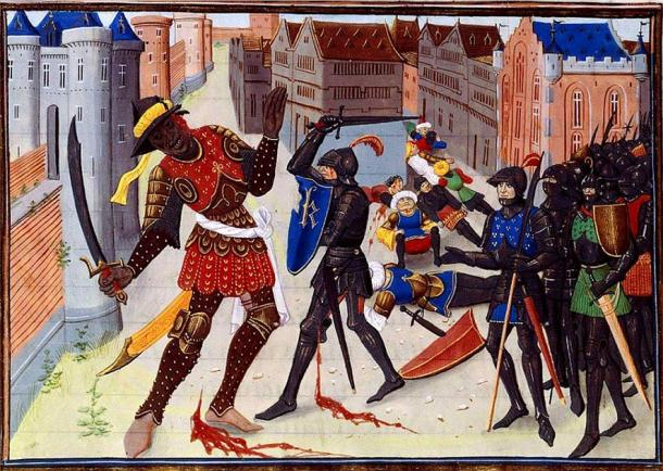 Illustration by David Aubert, Maugis fighting the Saracens in Aigremont, 15th century (Public Domain)