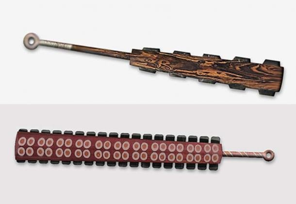 Illustrations of macuahuitl – Aztec obsidian swords. (The Epoch Times)