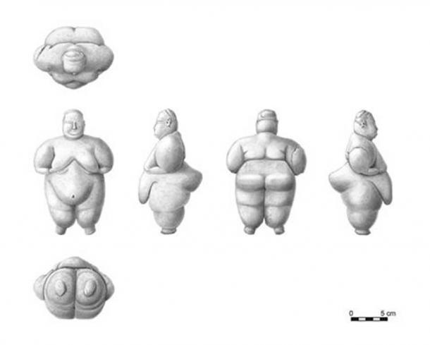 Illustrations of the figurine found at the site of Çatalhöyük, Turkey.