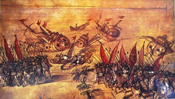 Image attributed to Miguel Gonzalez of Hernan Cortes scuttling his fleet off the Veracruz coast. On display at the Naval History Museum in Mexico City. (CC BY-SA 4.0)