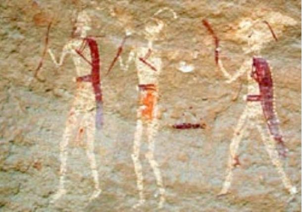 Detail; Image exposed for clarity. Rock art at Tassili n'Ajjer