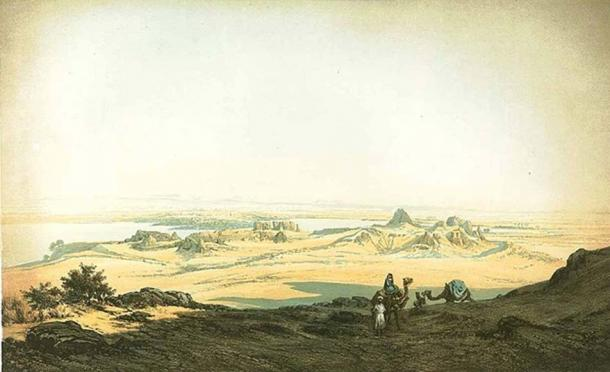 Image from the mid 1800s showing the desert forts of Semna & Kumma from the west.