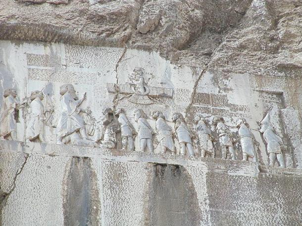 """During lifetime of Buddha (b. 563 - d. 483 BCE) when the Persian Empire stretched from Egypt to the Indus, Darius the Great comes to power by overthrowing the stargazer-Magus """"Gaumata"""" in Babylon about whom his Bisutun Inscriptions claim: """"he seized the kingdom on July 1, 522 BCE. Then I prayed to Ahuramazda and slew him."""" Image of Darius reasserting Persian domination stomps on """"rebels"""" with inscriptions etched below."""