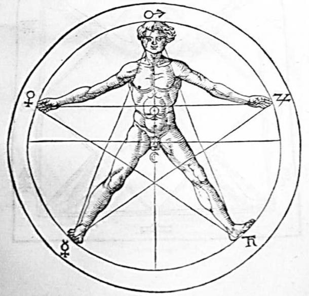 """Image of a human body in a pentagram from Heinrich Cornelius Agrippa's 'Libri tres de occulta philosophia.' Symbols of the sun and moon are in center, while the other five classical """"planets"""" are around the edge."""
