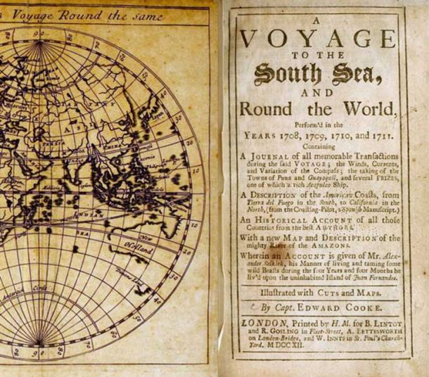 Image of slipcover from book printed in 1712: A Voyage to the South Sea, and Round the World Perform'd in the Years 1708, 1709, 1710, and 1711, by Edward Cooke of a trip on two ships, the Duke and Dutchess of Bristol, commanded by Woodes Rogers (public domain)