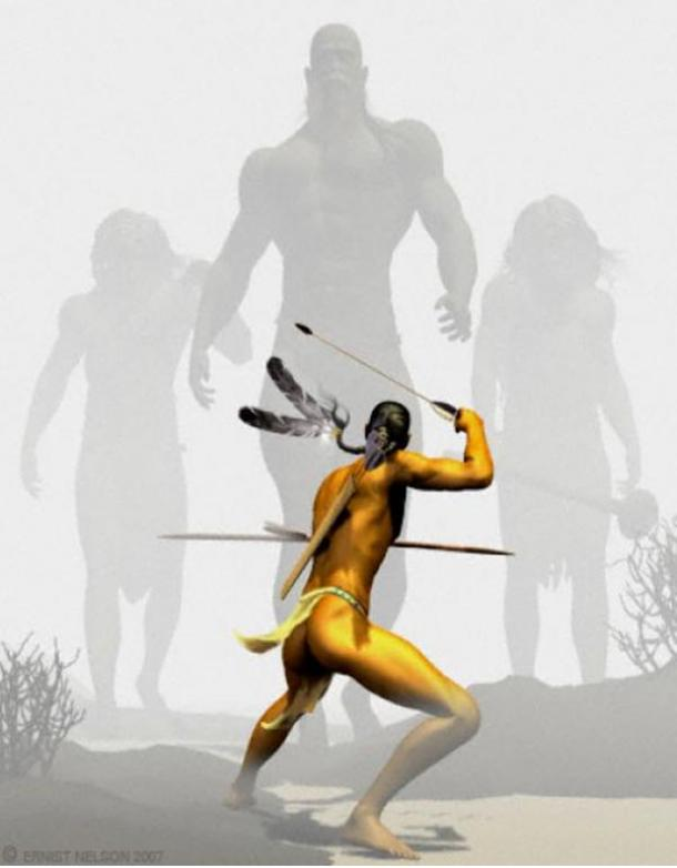 Image of the Natives fighting off the Red Haired Giants at the Lovelock Cave, Nevada.