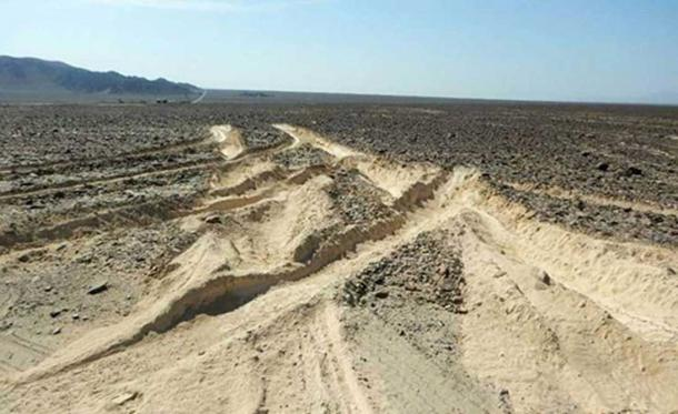 Image shows the level of damage caused by the truck driving into the protected archaeological site. (Image: Peruvian Ministry of Culture)