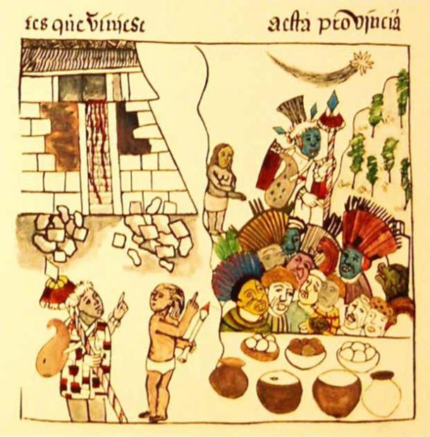 Image showing Purépecha priests besides a pyramid structure, such as the one at Tzintzuntzan. (Public domain)