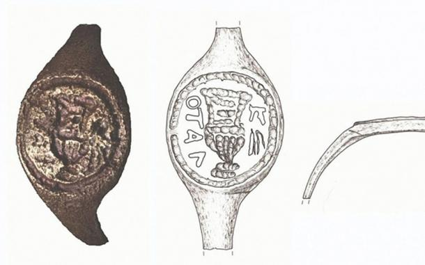 Imaging and associated sketches of sealing ring that is thought have belonged to Pontius Pilate (Drawing: J. Rodman; Photo: C. Amit, IAA Photographic Department, via Hebrew University)