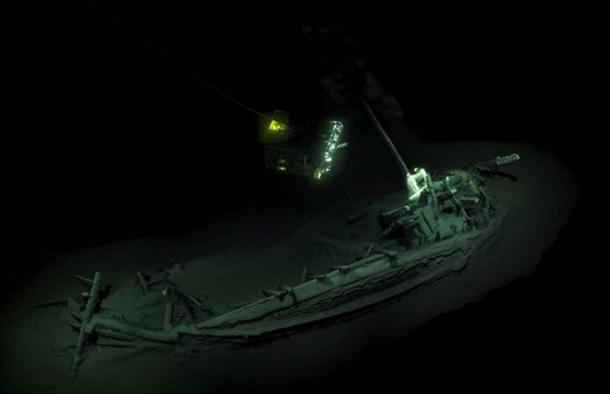 Imaging of ROV visiting the previous oldest intact shipwreck known, found at the bottom of the Black Sea. Source: Black Sea Map /EEF Expeditions
