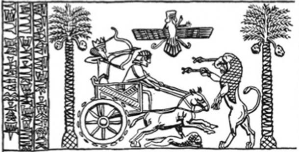"Impression of a cylinder seal of King Darius the Great hunting in a chariot, reading ""I am Darius, the Great King"" in Old Persian. (पाटलिपुत्र / Public Domain)"