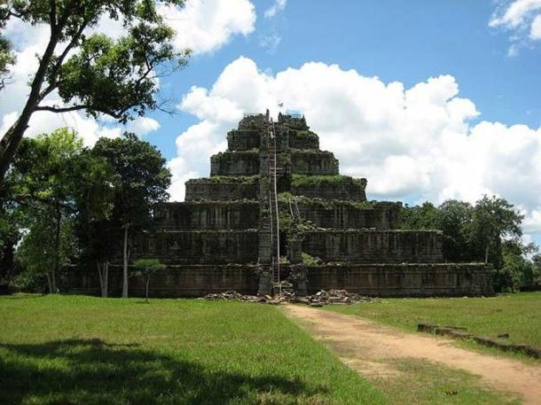 Improvised wooden stairs have been built for visitors to reach the top of Koh Ker pyramid.