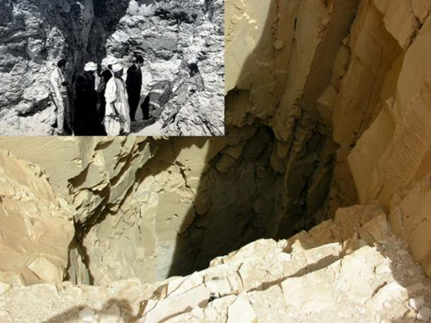 In 1881, this plain-looking shaft in Deir el-Bahari led Émile Brugsch to DB320 where the most extraordinary cache of royal mummies lay concealed for millennia. (Inset) Brugsch is in the center overseeing the removal of the contents, while Sir Gaston Maspero (seated) looks on. (Images: Keith Hazell/CC BY 3.0 and Wikimedia Commons)