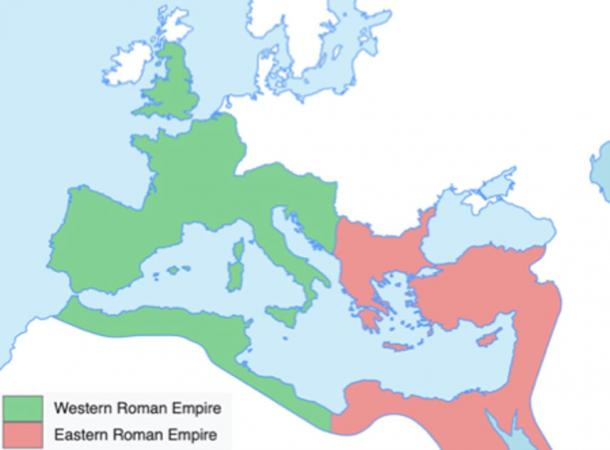 In 395 the Roman Empire was divided. (AKIKA3D / CC BY-SA 4.0)
