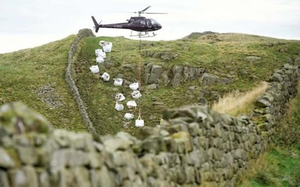 In October the National Trust were forced to fly in 35 tons of stone by helicopter to repair a 250 ft. section at Caw Gap. (North News & Pictures)