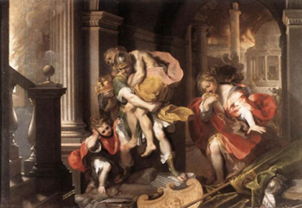 In Virgil's Aeneid, the epic poem conveys the story of the Trojan hero Aeneas fleeing from Troy. (Blackcat / Public Domain)