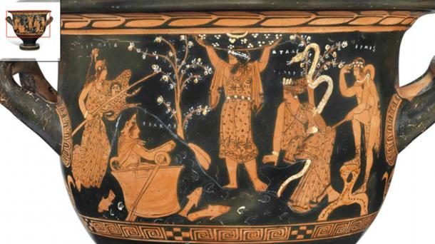 """In the center, Atlas pushes away the heavens, and with them the God of the heavens, preferring the """"wisdom"""" of the ancient serpent. A seated Hesperid is there to tend to the serpent and its apple tree. An armed Athena approaches from our left. Hermes, far right, appears to be standing on a rock. Herakles appears in """"the bowl of the sun"""" figuratively having returned to the ancient paradise with the other """"gods"""" through the Flood, as the fish and waves indicate. (Author provided)."""