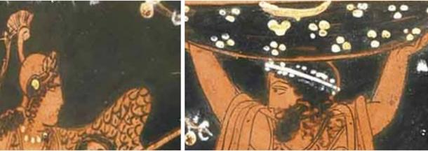 In these close-ups, a stern-looking Naamah/Athena, fresh from her victory over the line of Seth, and wearing her war helmet and carrying her spear, reports the triumph to her Cainite father, Lamech/Atlas, as he smiles back with pride and pleasure at his daughter's great achievement. (Author provided).