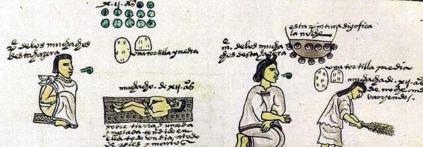 In this scene from Codex Mendoza — a father teaches his twelve-years-old son the art of war, and a mother teaches her daughter house duties, with the speaking parents indicated by the scroll glyph. (Public Domain)