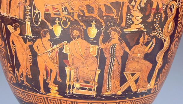 In this scene from about 430 BC, Lamech/Atlas sits enthroned with his scepter, as king of the Cainites in the pre-Flood world. His name appears above his head. Gaia, or Earth, stands to our right of him, showing that he rules the entire earth. Atlantis and the Atlantic Ocean are named for him. (Author provided).