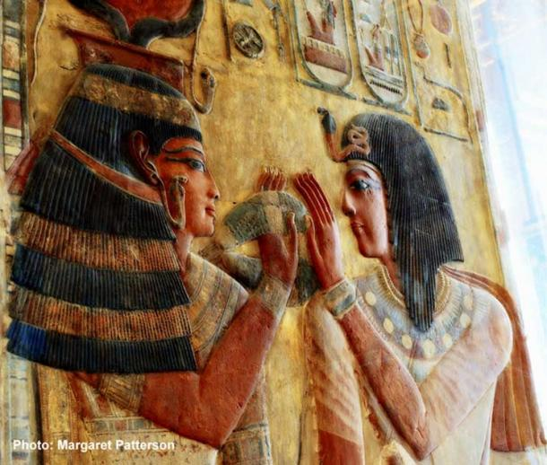 In this stunning relief, originally from the tomb of Seti I, the goddess Hathor is shown welcoming the king into the underworld by offering her menat necklace as a symbol of her protection. Louvre Museum, Paris.