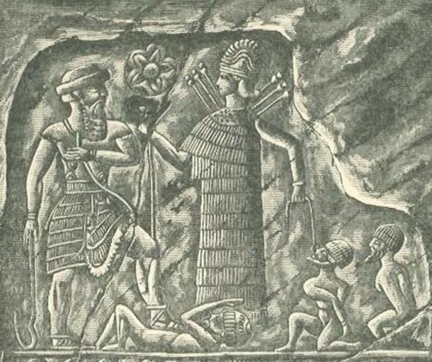 Ishtar/Inanna as a warrior presenting captives to the king