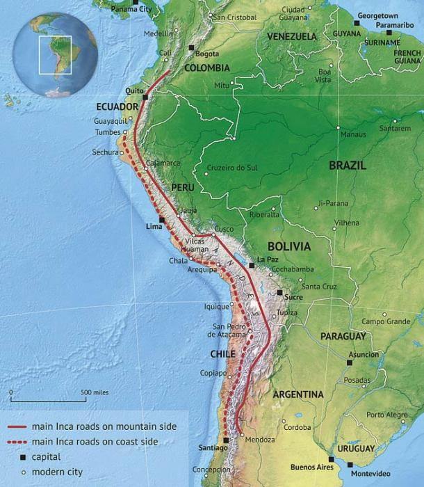 This map shows the Inca Road System through South America.