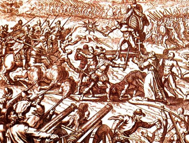 Inca-Spanish confrontation in Cajamarca, with Emperor Atahuallpa in the center