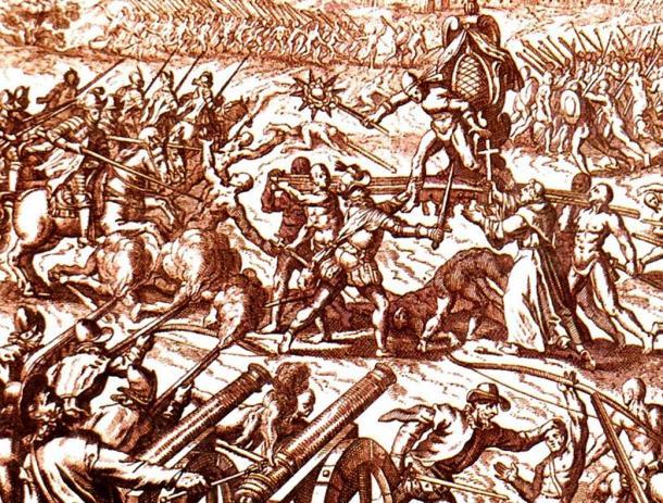 Inca-Spanish confrontation in Cajamarca, with Emperor Atahuallpa in the center