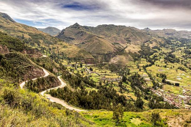 Aerial view at Sacred Valley of Incas as seen from the hill at Pisaq near Cusco in Peru. (Marek /Adobe Stock)