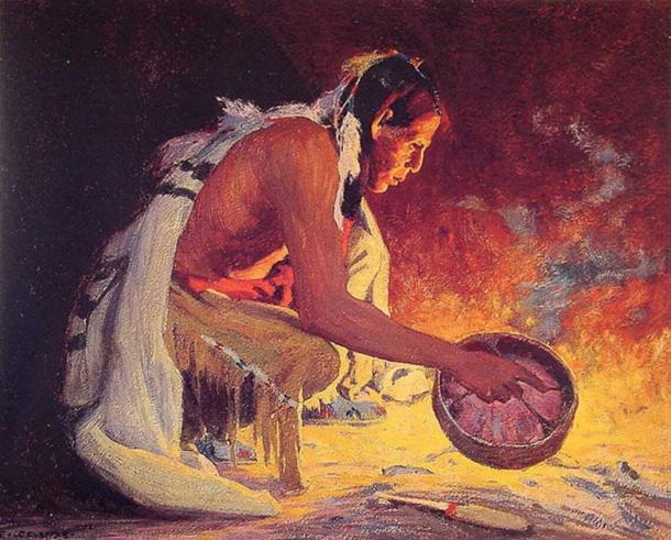 """'Indian by Firelight' by Eanger Irving Couse. (Public Domain) """"Native Americans knew that to regenerate plant species that they wanted for food, and to feed game animals they relied on, they needed to burn the forest understory regularly."""""""
