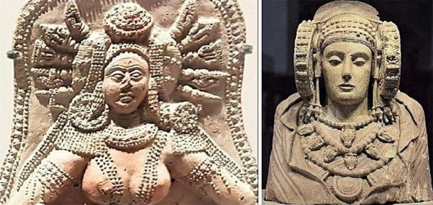 The Indian goddess artifact from Chandraketugarh (left) and Lady of Elche artifact (right). (Provided by the author)