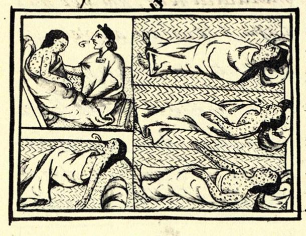 Indigenous victims of disease from the Florentine Codex (compiled 1540–1585).