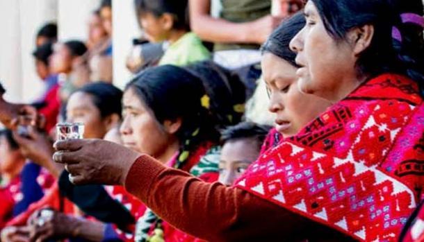 Indigenous women drinking pox