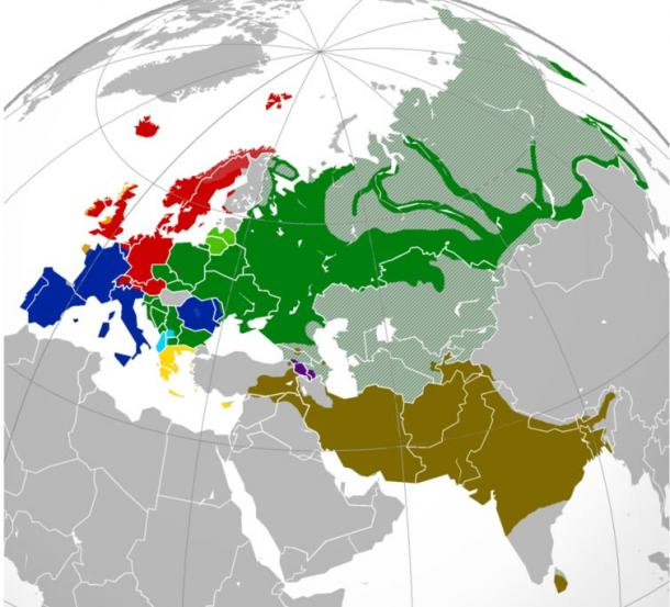 The colored parts of this map show the post-1945 distribution of Indo-European branches in Europe and Asia. Areas in gray speak languages other than Indo-European.