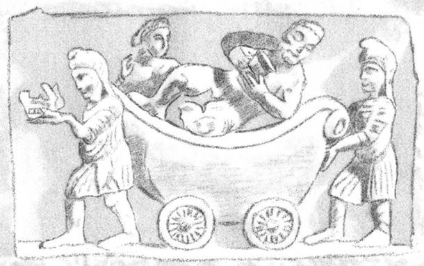 Indo-Scythians pushing the Greek god Dyonisos with Ariadne in a charriot. Gandhara