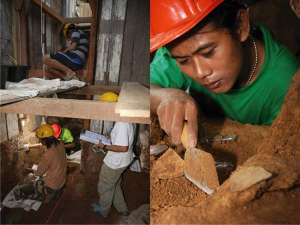 Indonesian archaeologists at work in Leang Burung 2. Adam Brumm, Author provided