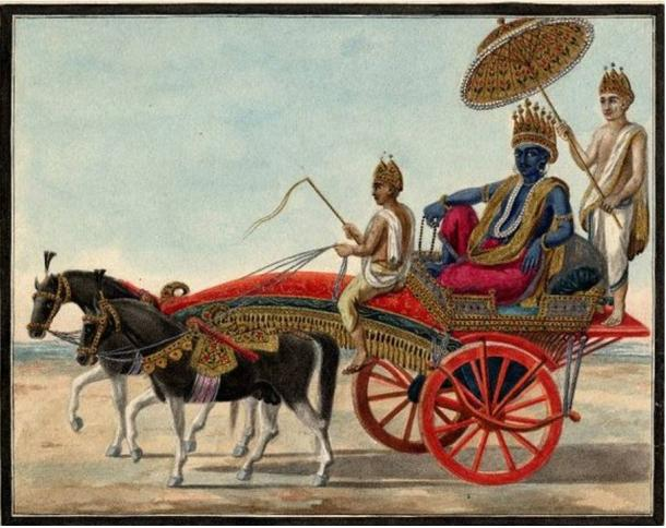 Watercolor painting on paper of Indradyumna seated in a carriage.