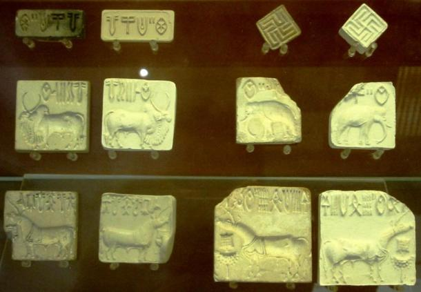 An example of Indus Valley script with swastikas