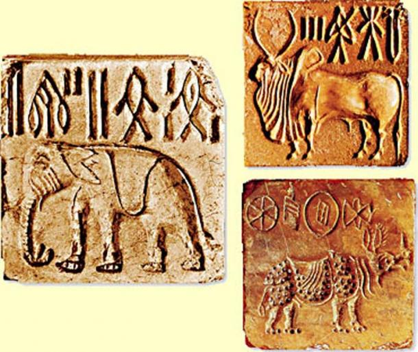 Indus valley seals with Bull, Elephant, and Rhinoceros, 2500–1900 BC. By MrABlair23