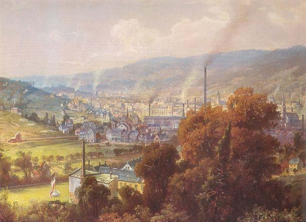 Industrialized town in Germany, circa 1870. (Public Domain)