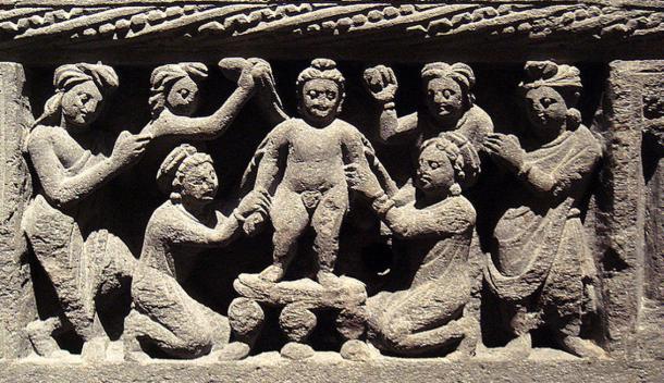Infant Buddha Taking a Bath Gandhara 2nd Century AD.