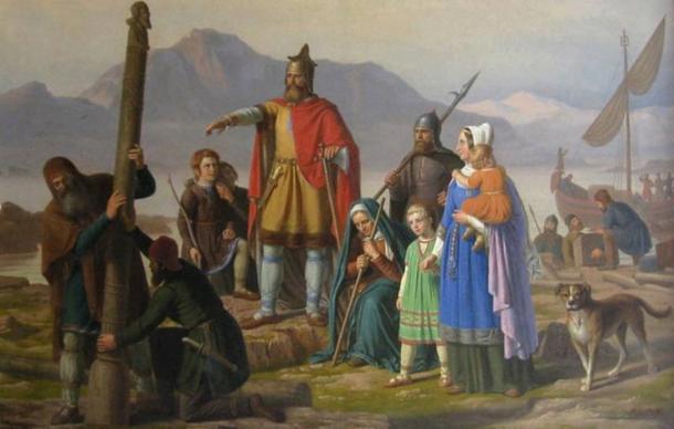 'Ingolf tager Island i besiddelse' by P. Raadsig, 1850, depicting Ingólfr Arnarson, the first settler of Iceland, newly arrived in Reykjavík.